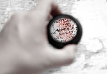 Selective focus on antique map of Boston