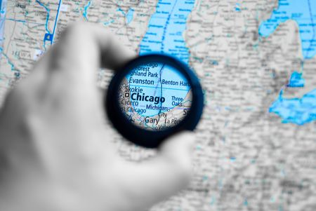 Selective focus on antique map of Chicago