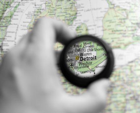 Selective focus on antique map of Detroit photo