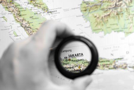 ジャカルタの旧式な地図選択と集中