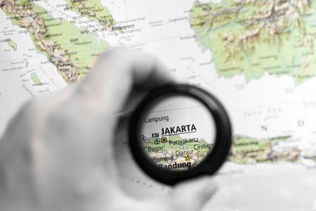 Selective focus on antique map of Jakarta Stock Photo