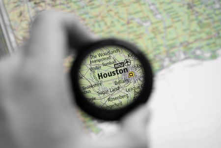 Selective focus on antique map of Houston