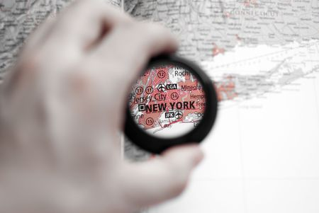 Selective focus on antique map of New York photo