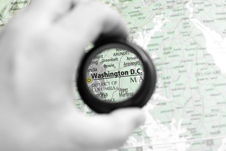 Selective focus on antique map of Washington D.C. photo
