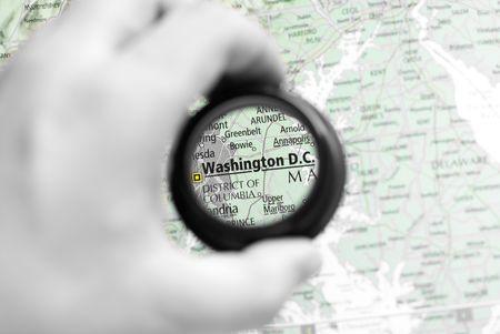 Selective focus on antique map of Washington D.C. Stock Photo