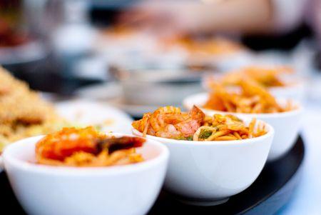 白い板で美味しい中国シーフード料理 写真素材