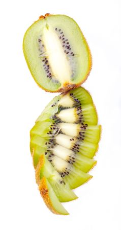 Sliced ripe fresh kiwi isolated on white photo