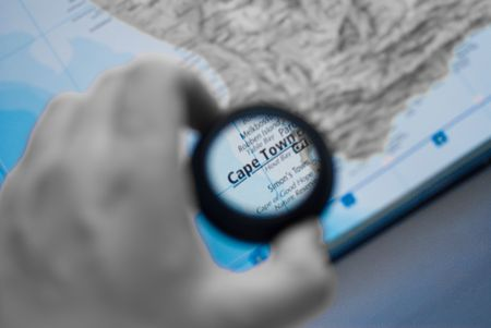Selective focus on antique map of cape town