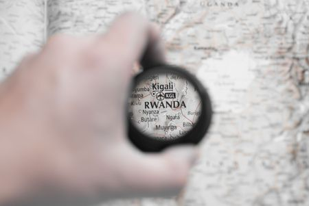 Selective focus on antique map of Rwanda photo