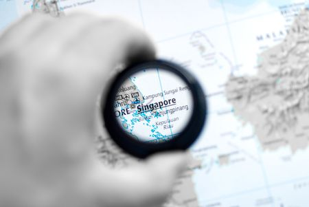 Selective focus on antique map of Singapore