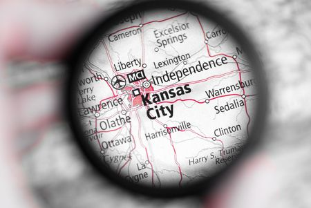 capital cities: Selective focus on antique map of Kansas City