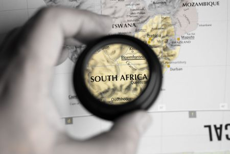 Selective focus on antique map of South Africa