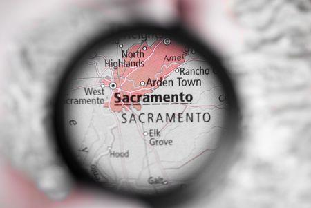 Selective focus on antique map of Sacramento