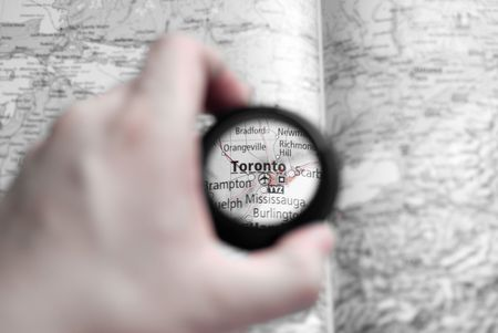 Selective focus on antique map of Toronto Stock Photo