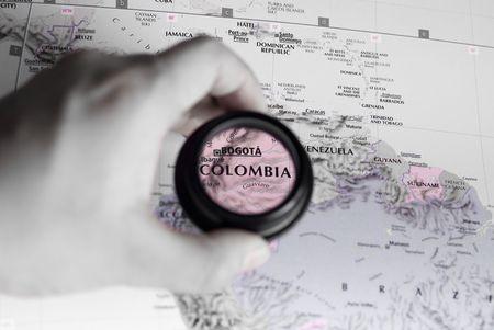 コロンビアの旧式な地図選択と集中 写真素材