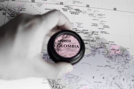 Selective focus on antique map of Colombia