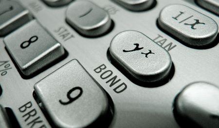 Selective focus on advanced financial calculator keyboard Stock Photo