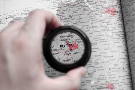 Selective focus on antique map of Bremen