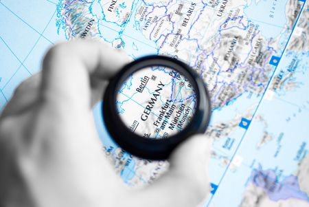 Selective focus on antique map of Germany Stock Photo