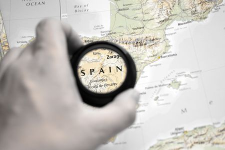 Selective focus on antique map of Spain photo