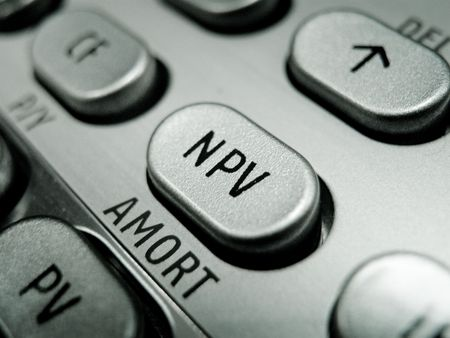 advanced computing: Selective focus on advanced financial calculator keyboard Stock Photo