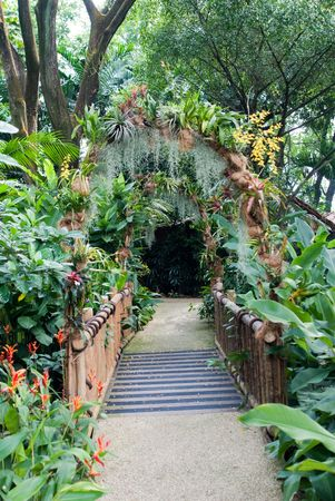 beautiful design of natural garden entrance path Stock Photo - 4793657