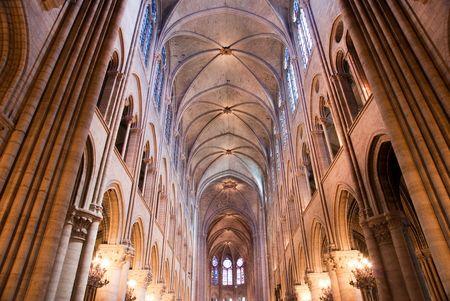 interior and exterior design of famous church in paris Editorial