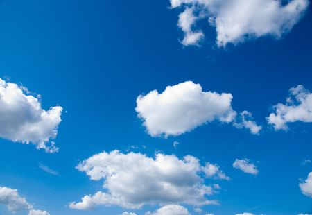blue sky with white cloudscape in nature setting Stock Photo
