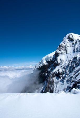 Summit of snow mountain in Switzerland in summer