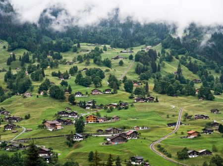 Mountainous green scenery in Switzerland village in summer