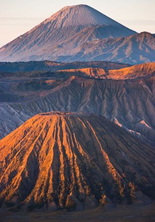Active volcano Mountain Bromo amazing sunrise with gas eruption Stock Photo