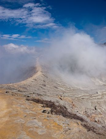 bowels: Milky blue lake in geographic asian active volcano Stock Photo
