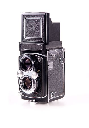 Antique medium format film mechanical camera isolated on white Stock Photo