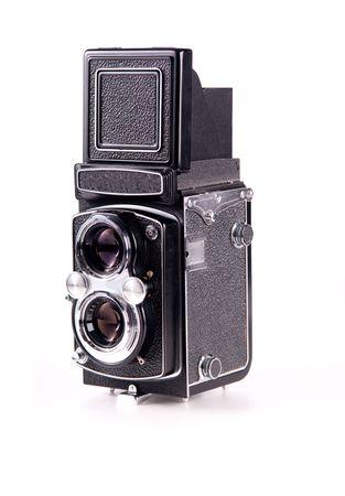 Antique medium format film mechanical camera isolated on white Stock Photo