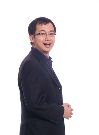 Chinese young business man in purple polo shirt and black suite