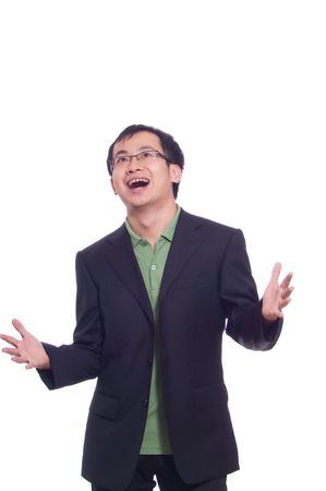 Asian young business man in green polo and black suite Stock Photo - 5908999