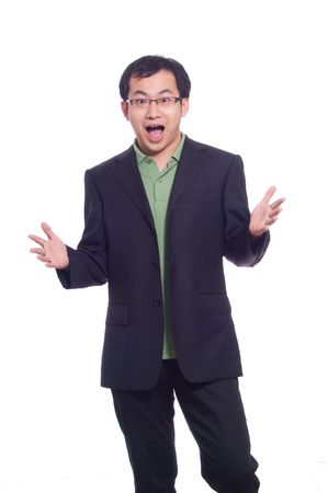 Asian young business man in green polo and black suite