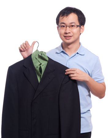 young asian student neaten his black jacket Stock Photo - 5909007