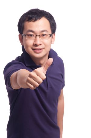 Chinese young male smile with thumb up Stock Photo - 5909001
