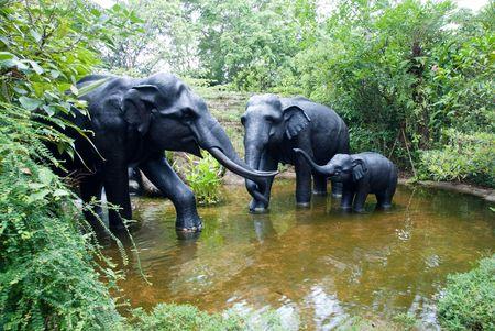 Elephant family play around the small pool Stock Photo - 6009936