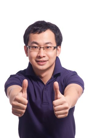 thumbup: Chinese young male smile with thumb up Stock Photo