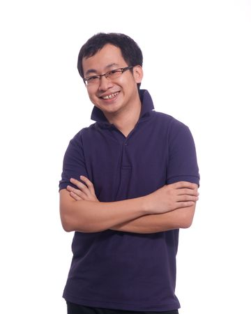 Asian Young Male in purple polo shirt isolated Stock Photo