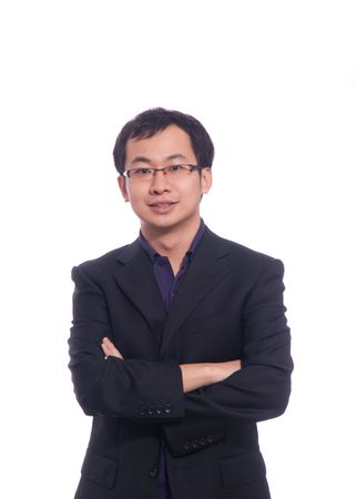 Chinese young business man in purple polo shirt and black suite Stock Photo - 6006225