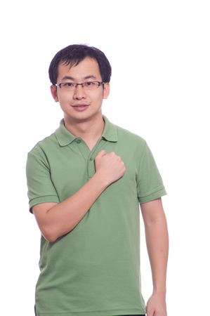 young chinese man showing confident looking isolated on white photo