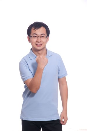 Confident chinese young male in blue polo shirt photo
