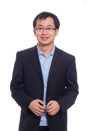 Asian Chinese young student in blue polo and black suite Stock Photo
