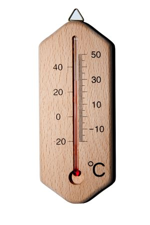 closeup of wooden thermometer with scale isolated on white photo