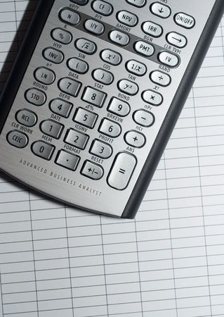 closeup of advanced financial analysis calculator background photo