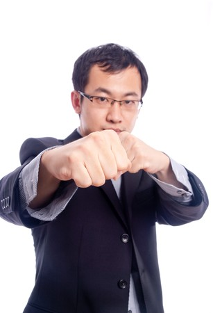 Young asian male model with hand gesture in business shirt photo