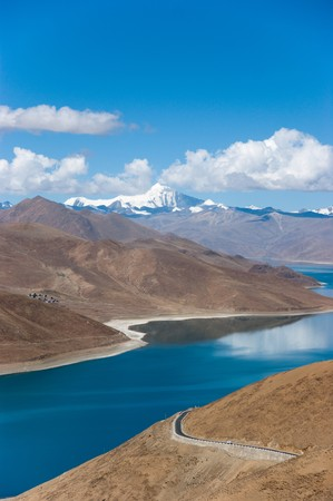 Blue lake with surrounding mountains in great tibet area photo
